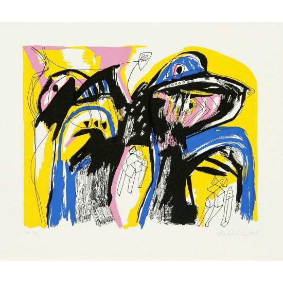 Lis Zwick født 1942 'Nattens Broer I' . litografi. Signeret Lis Zwick 1988