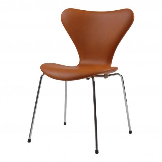Arne Jacobsen syver stol, 3107, nypolstret i cognac classic læder