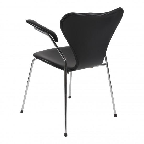 (NY) Arne Jacobsen Armstol, 3207, i sort classic læder