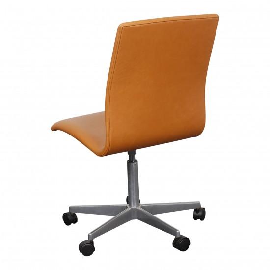 Arne Jacobsen Oxford kontorstol nybetrukket i cognac anilin læder
