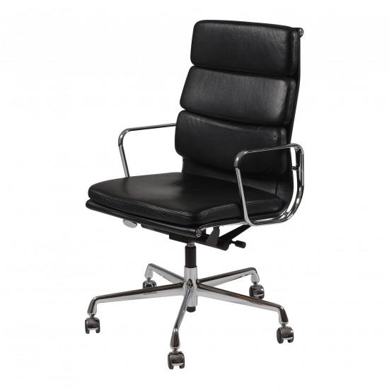 Eames Kontorstol, EA-219, i sort læder