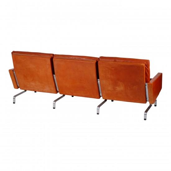 Poul Kjærholm sofa, Pk-31/3 Kold Christensen, i cognac læder