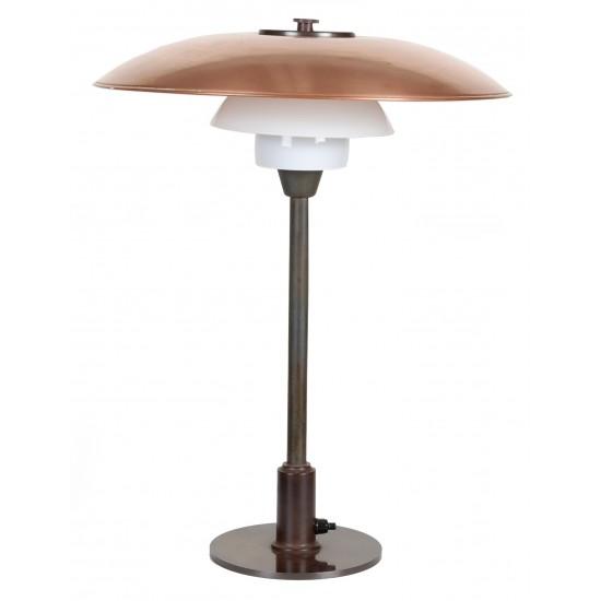 Poul Henningsen. PH 3,5/2 Bordlampe med stel af bruneret messing