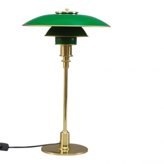 """Poul Henningsen: """"PH-3/2"""". Bordlampe med stel af  messing, skærme grønne bemalede metalskærme"""