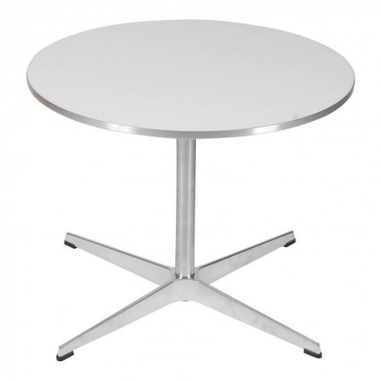 Arne Jacobsen sofabord med Hvid laminat med metal kant Ø: 60 cm