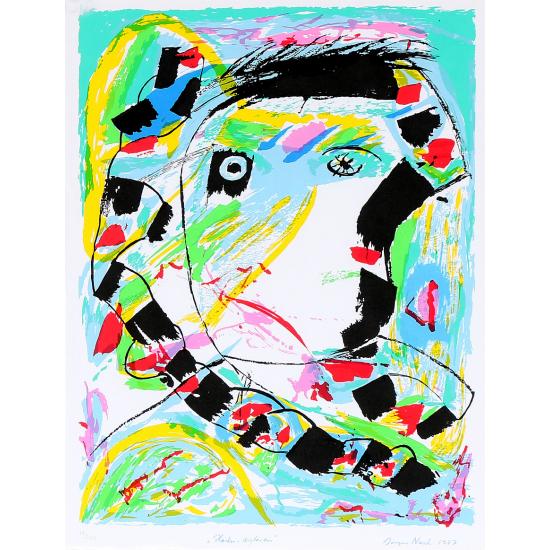 """Jørgen Nash """"Haiku-digteren"""". Sign. Jørgen Nash 1987, Litografi i farver."""