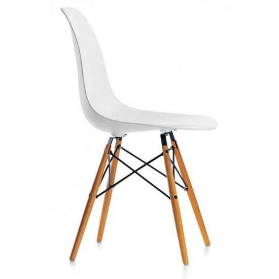 Charles Eames DSW hvid med træben